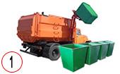 мусоровоз с боковой загрузкой контейнера