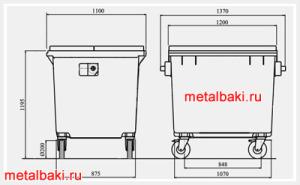 размеры металлического евроконтейнера 1,1 м3